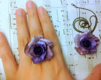 Shimmery Purple Roses - Handmade Jewelry Set for Weddings and Parties - Necklace and Statement Cocktail Ring