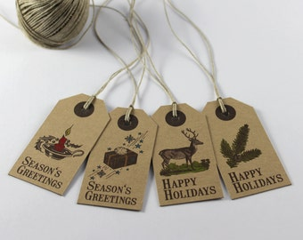 Set of 8 Rustic Christmas Tags, Happy Holidays / Season's Greetings Gift Tags