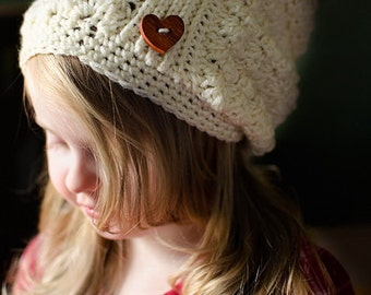 Crochet Slouchy hat, slouchy toddler hat, teen crochet slouchy hat, slouchy adult hat, Cream childs hat, custom crochet slouchy hat