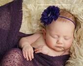 Purple Headband Baby Headband Newborn Headband Purple Flower Headband Flower Girl Headband Baby Girl Photo Prop Baby Bows Newborn Photo Prop