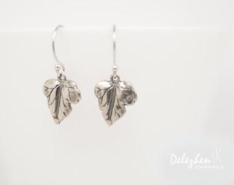 Sterling Silver leaf drop Earrings - Dangle Earrings - modern jewelry - minimalist everyday jewelry - gift for her - bridesmaid Earrings