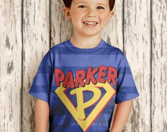 Personalized Superhero Shirt, Boys Super Hero Birthday T-Shirt, Costume with Cape,