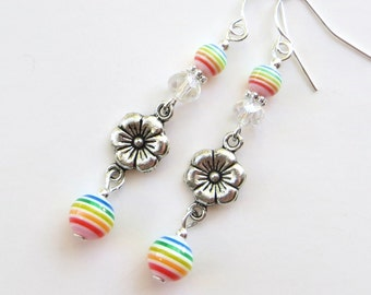 SPRING RAINBOWS- Beaded Dangle Earrings with Crystals, Tibetan Silver Flower Spacers, and Rainbow Beads- Silver Plated Ear Wires