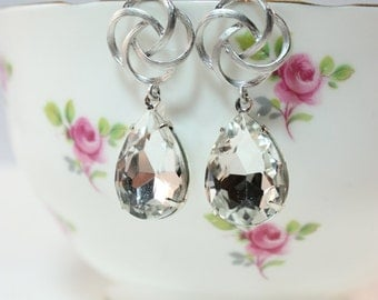 Old hollywood crystal rhinestone silver earrings