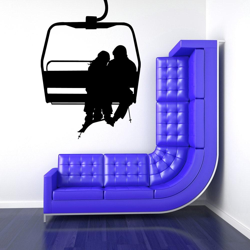 Ski lift chair ski decor ski art ski decal couple decals for Decoration murale sticker