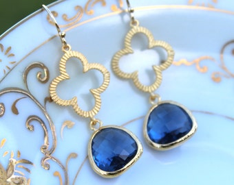 Sapphire Navy Blue Earrings Gold Clover Quatrefoil Earrings Jewelry - Bridesmaid Earrings - Wedding Earrings - Sapphire Wedding Jewelry