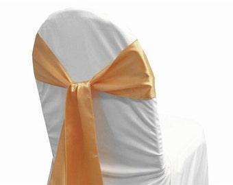 100 Peach Satin Chair Sash - Wedding, Reception, Party