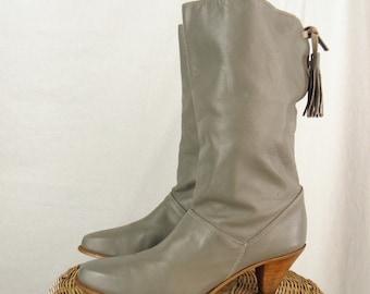 Sz 8N DINGO Vintage 1980s Gray Leather Western Boots WOMEN