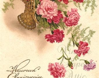 Pink Carnations in Basket Antique Vintage French Postcard Chromo Post Card from Vintage Paper Attic
