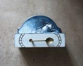 Teabag box Blue teal rustic home decor, farmhouse accessory -  teabag holder, steampunk, three sections, organizer