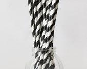 Black and White Straws Stripe Paper Straws Black and White Party Supplies Striped Paper Straws Black and White Birthday Party - Set of 20