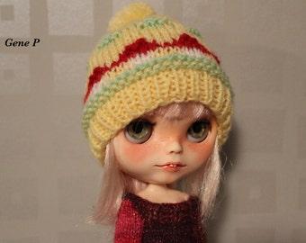 Hand knit hat, pom pom, slouchy beanie hat Mushroom patterns hat ooak