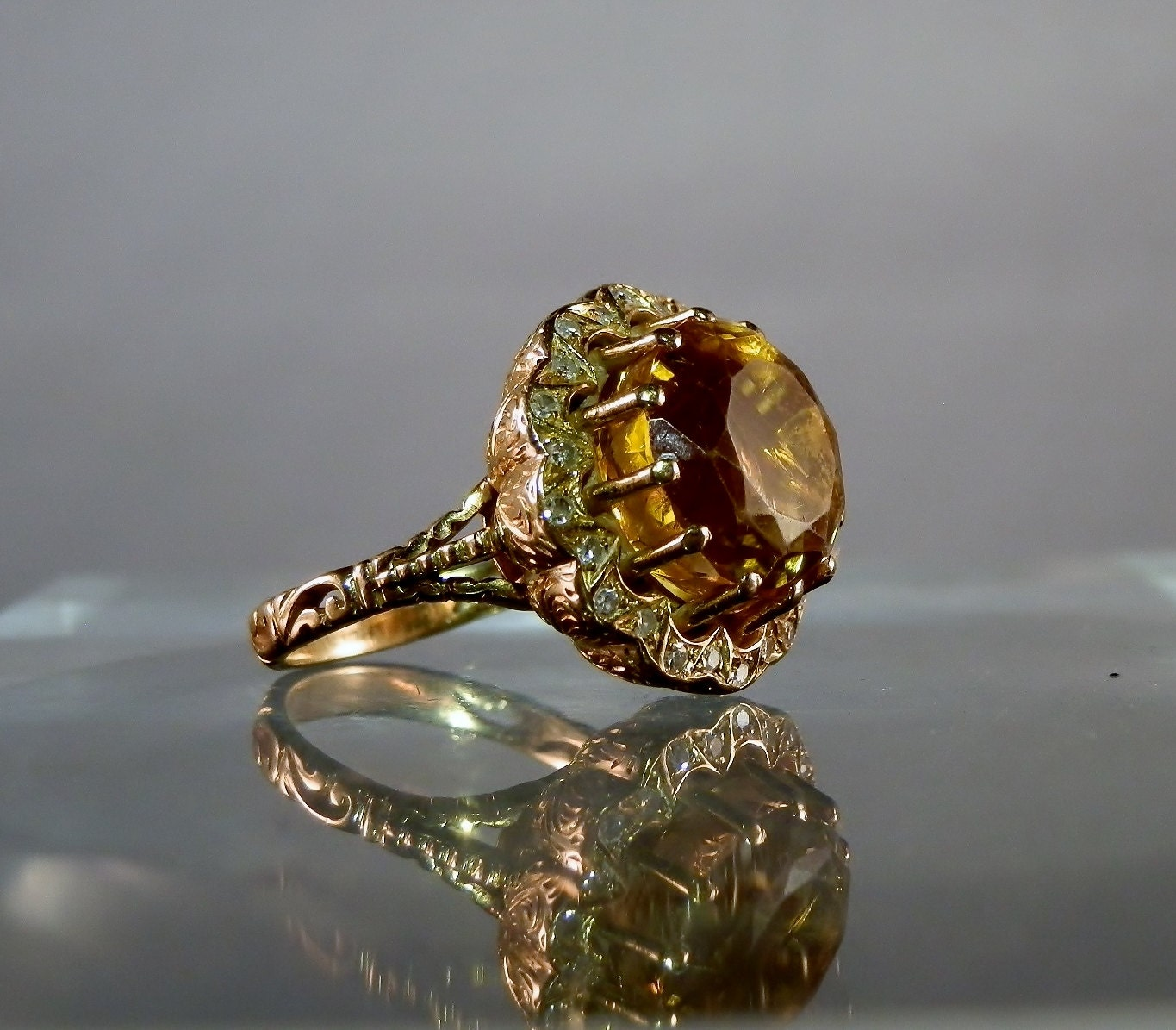 antique gold ring citrine quartz and by