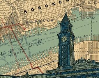 "Hoboken NJ Lackawanna train station map background Wood Block art print 9x12"""
