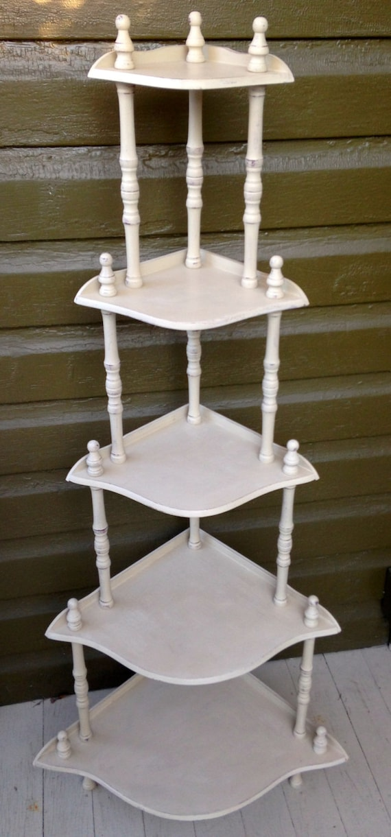 Vintage Corner Shelf Stand Etagere Five Tiers Knic Knac Free