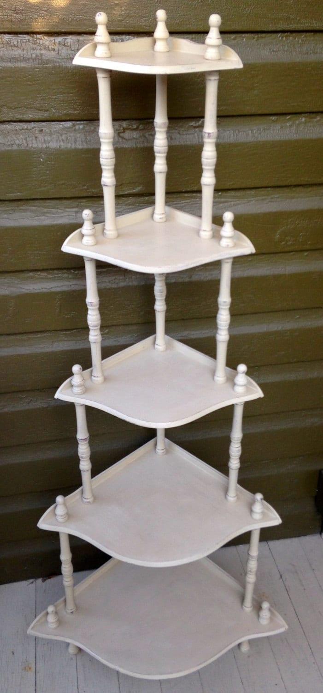 vintage corner shelf stand etagere five tiers knic knac free. Black Bedroom Furniture Sets. Home Design Ideas