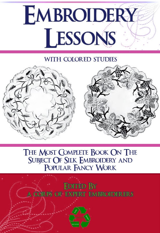EMBROIDERY LESSONS With Colored Studies Tutorial Book On