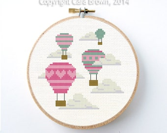 Hot Air Balloons Cross Stitch Pattern Instant Download Easy needlepoint modern cute design