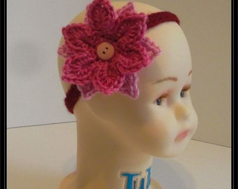 Crocheted Boho 3 strand Burgandy Baby Headband with detachable Rose and light pink Flower! Ready to Ship!!