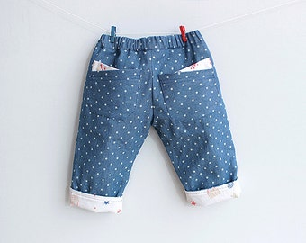 LITTLE STARS Pants Jeans Boy Girl sewing pattern Pdf , Fully Lined, children Baby pants, Toddler pants, newborn up to 6 years