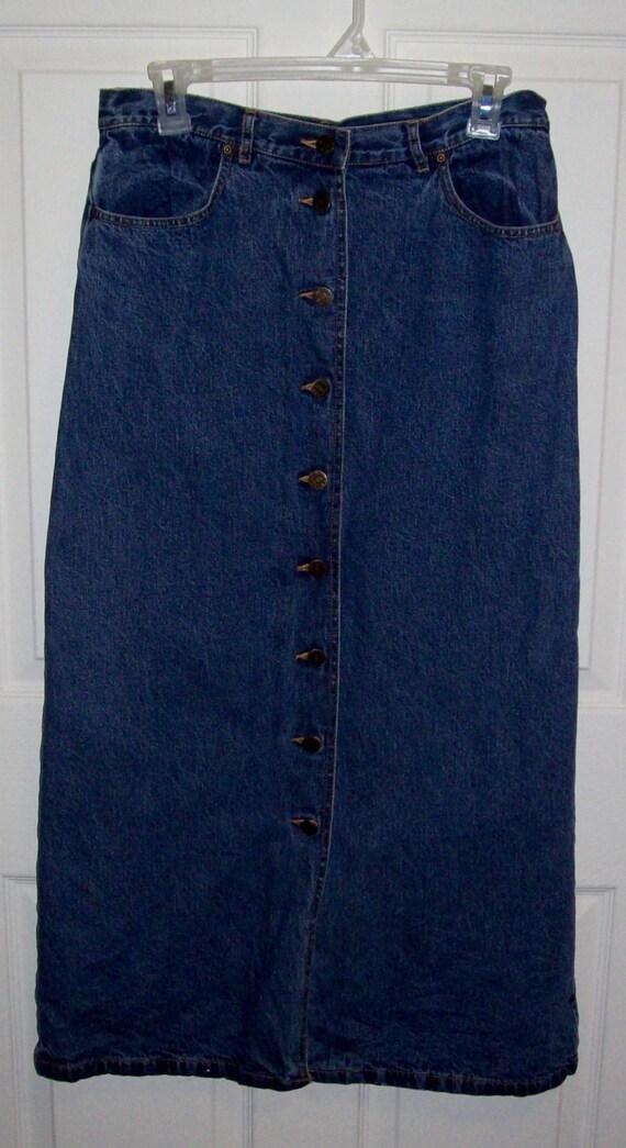 vintage flannel lined denim skirt by eddie bauer size 6
