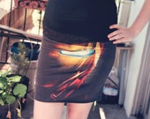 Reconstructed Upcycled Iron Man Marvel Comics Bodycon Skirt