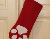 Red Christmas Stocking with White Paw Print / other colour combinations are available