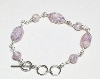 Purple Czech Glass Bead Bracelet Jewelry Beaded Bracelet Womens Bracelet Mom Girlfriend Sister Women's Gift