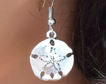 Sand Dollar Earrings Silver Earrings Nautical Beach Jewelry Simple Earrings
