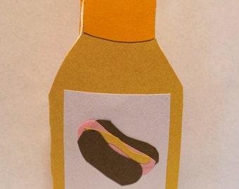 Handmade Kawaii Mustard Bottle Card - Cardstock