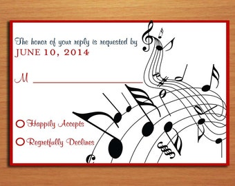 Music Staff Wedding RSVP Postcard PRINTABLE / DIY