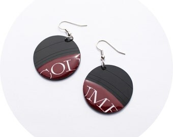dark red earrings recycled jewelry LP earrings burgundy earrings funky jewelry hypoallergenic hooks vinyl disc dangle earrings bold jewelry