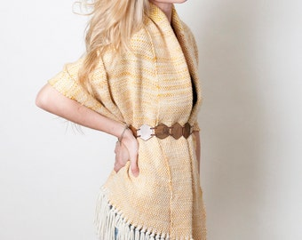 Mustard Hand woven scarf, Merino wool handspun yarn, Cosy wrap, Fall Eco fashion by Texturable