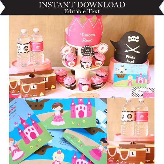Pirate Princess Birthday Party Invitations & Decorations - Sibling Birthday - Pirate Princess Invitation - Download and Edit in Adobe Reader