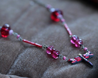 Dragonfly Necklace - Pink Red Necklace - Unique Necklace For Women - Dragonfly Jewelry - Unique Mosaic Jewelry - OOAK Necklace