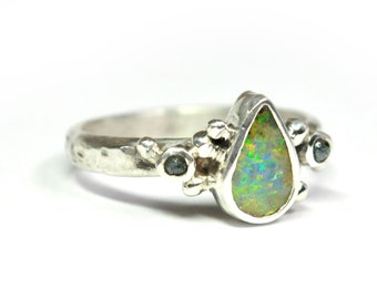 Boulder Opal and Blue Diamonds Granulation Silver Ring - Size 8.5