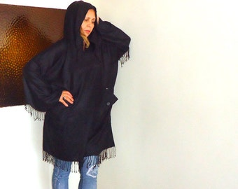 Black spring poncho-Cotton hoodie  Outerwear-double pockets  hooded coat-Black Cotton Hood Little Tent Caftan with Fringes (angelofanatolia)