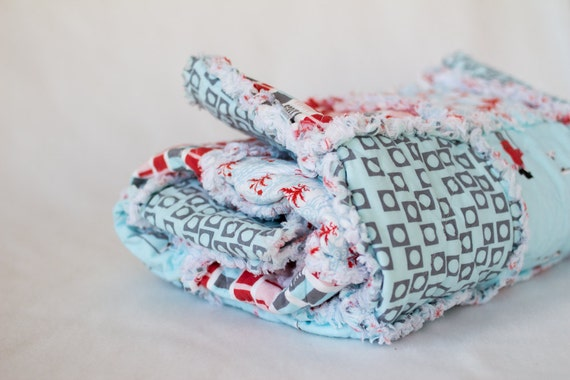 Rag Quilt Throw, Medium, Picnic Throw, Aneela Hoey, Scarves, Scooters, Soft Flannel, Red, Baby Blue, Gray