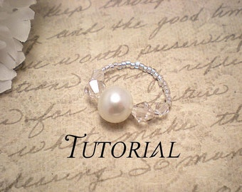Tutorial PDF Swarovski Pearl and Swarovski Crystal Simple Stretch Ring, Perfect Kids Project, Instant Download