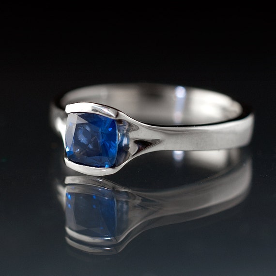 Cushion Cut Blue Sapphire Engagement Ring, Sapphire Solitaire Engagement Ring in Palladium, Platinum, White or Yellow Gold