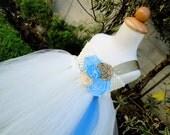 ivory,gold blue flower girl tutu dress