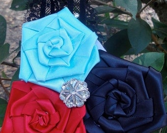 black,red and blue lace flower girl headband