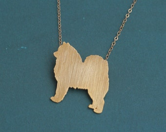Samoyed Necklace , Gold Samoyed Dog Jewelry , Samoyed Silhouette Charm , Samoyed Pendant , Dog Charm , Cute Dog Necklace , Dog Pendant