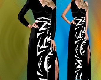 Maxi Black Dress With Middle Inset Made To Measurement