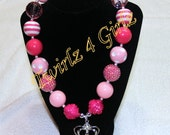 The 3 Essentials For a Little Girl - Pink, Sparkle and a Crown - Chunky bead necklace with crown with pink rhinestones