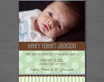 Baby Boy Photo Birth or Adoption Announcement; Blue, Green, Brown, Stripes and Polka Dots