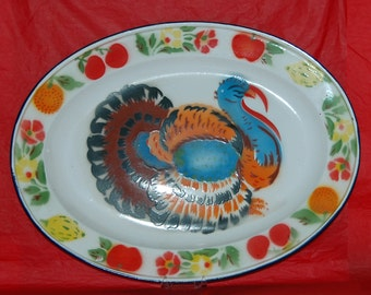 """Antique Vintage ENAMELWARE TURKEY PLATTER 17.75"""" X 13.25 Oval in Good Vintage Shape, Beautiful Bright Colors, Fall n Thanksgiving Use"""
