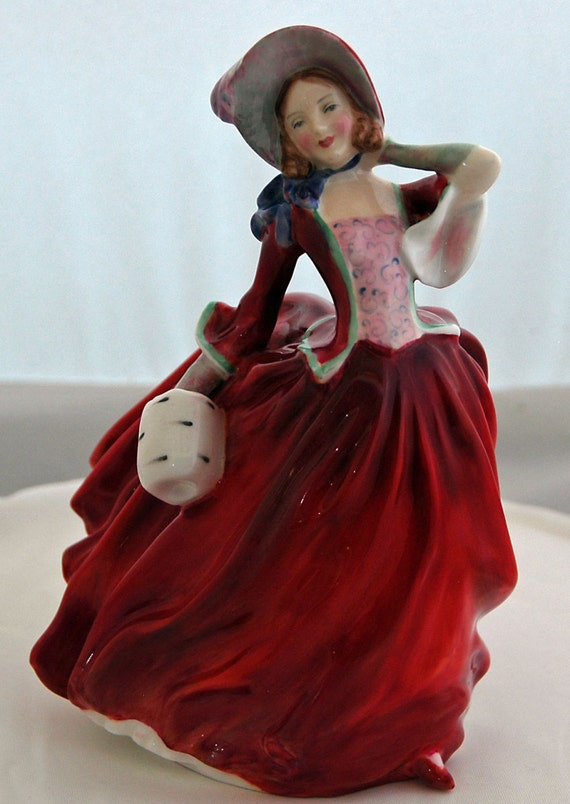 "Vintage Retired AUTUMN BREEZES HN1934 Royal Doulton Figure made in England Style One Exc Condition 7 1/2"" Tall 1940-1997 Painter's Initial"