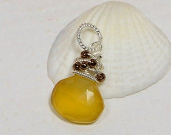 Chalcedony Honey Yellow  Wire Wrapped Briolette Add Dangle Gemstone Briolette Wire Wrapped Pendant