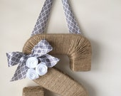 Monogram Wreath with Trellis Ribbon. Farmhouse style Jute Letter.